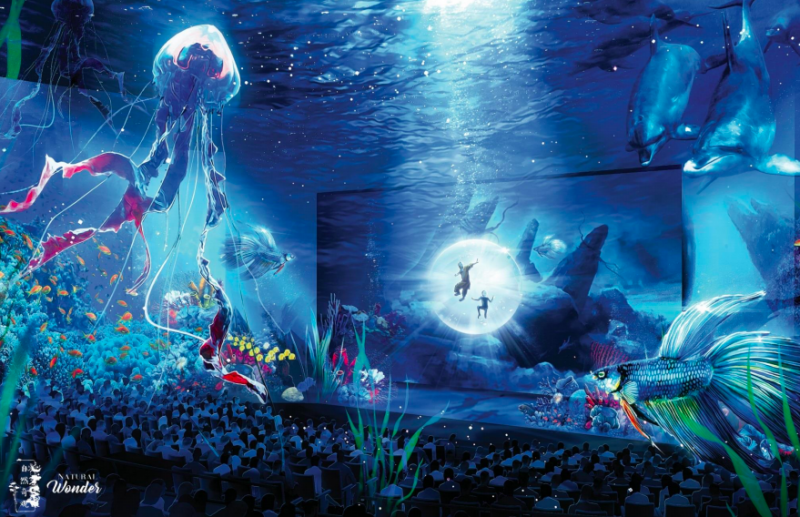 A rendering of the planned immersive theater space at Wynn Crystal Palace. Image courtesy of Wynn Resorts.