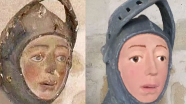 Before and after a misguided restoration on the statue of St. George at Navarre, Spain's Church of San Miguel de Estella. Photo via Twitter.