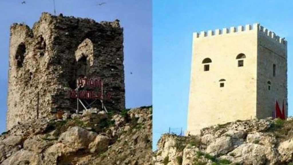Ocakli Ada castle in Turkey before and after restorations.