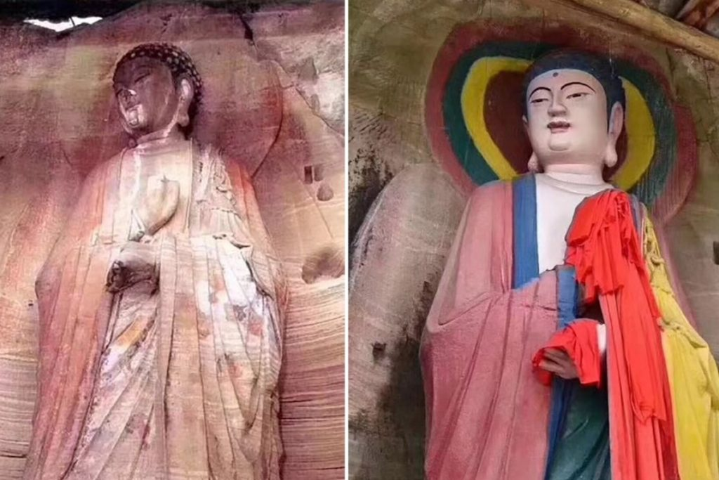 The Anyue Buddha before and after restoration. Photo by Xu Xin, via Weibo.