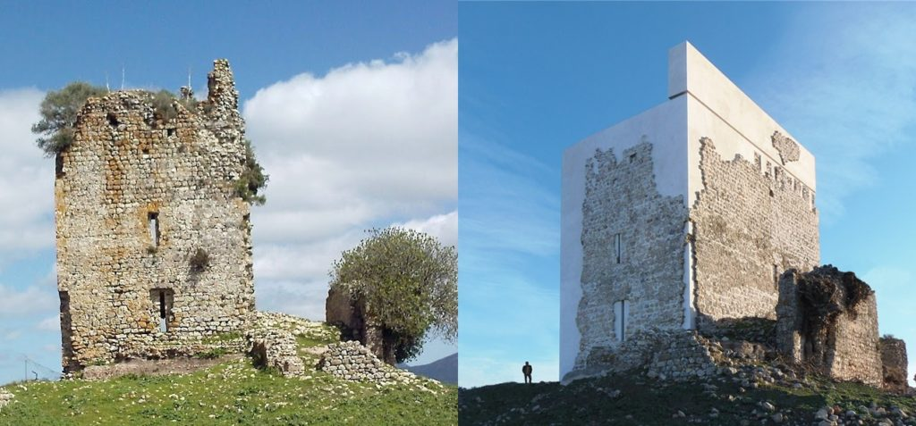 Spain's Castle of Matrera before and after restoration work carried out by architecture firm Carlos Quevado Rojas. Photo by Leandro Cabello, courtesy of Carquero Arquitectura.