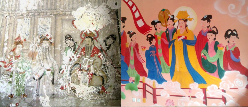 "One of the ancient Buddhist frescos in Yunjie Temple in Chaoyang, northeast China, that has now been covered by cartoon-like paintings as part of a ""restoration."" Photo courtesy of STR/AFP/Getty Images."