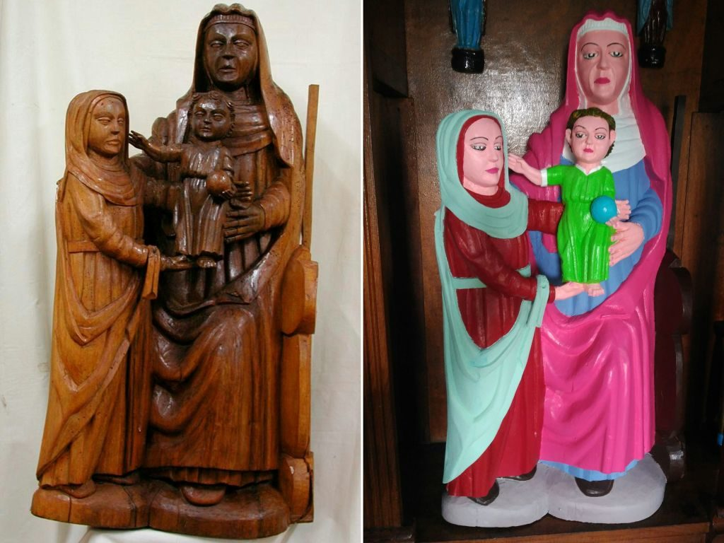 "At left, the 15th-century statue of Virgin Mary before being ""restored"" (right) by a local woman in Asturias, Spain. Photo DSF/AFP/Getty Images."