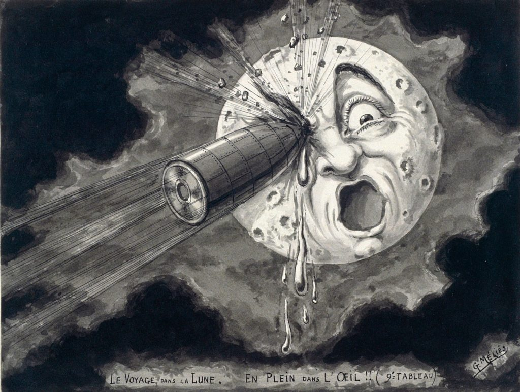 """Georges Méliès, <em>Square in the Eye</em>, a preparatory drawing for the film <em>""""Le Voyage Dans la lune"""" (""""A Trip to the Moon"""")</em>, from 1902, re-created in 1930. Courtesy of the Metropolitan Museum of Art."""