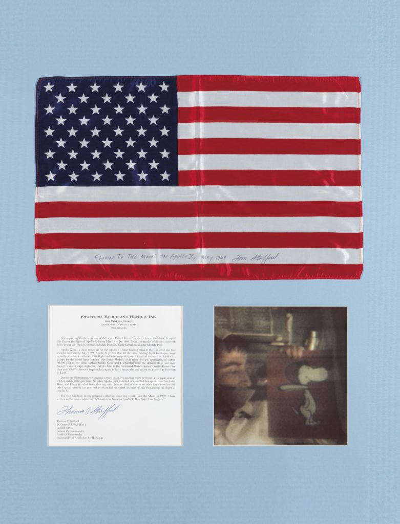 A Large United States flag that accompanied the Apollo 10 Mission. Courtesy of Christie's.