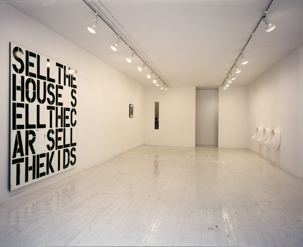 "Installation view, ""A Project: Robert Gober Christopher Wool,"" 303 Gallery, 1988. Courtesy of 303 Gallery, New York."