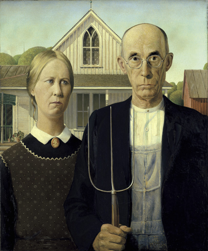 Grant Wood's <em>American Gothic,</em>, 1930. Courtesy of the Art Institute of Chicago.