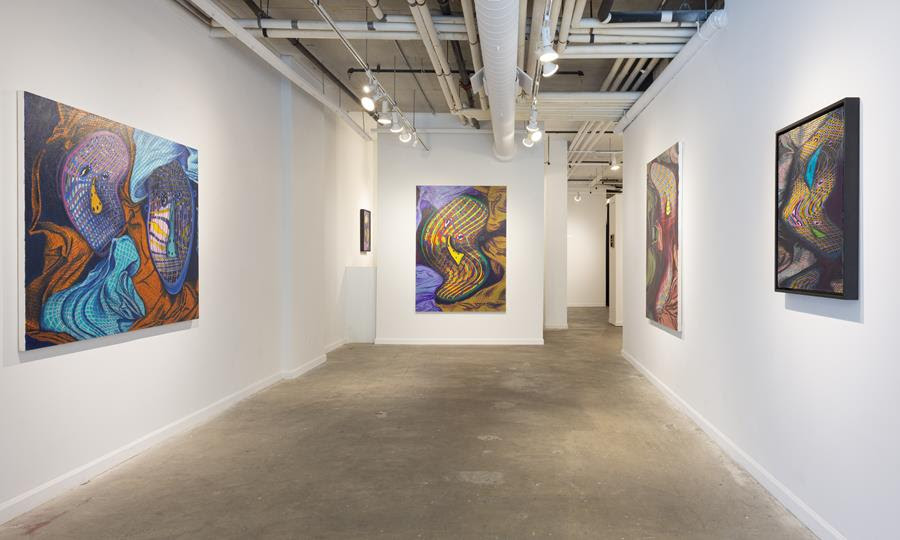 """Jeff Way: Topsy Turvy"" installation view at Lesley Heller Gallery. Photo courtesy of Lesley Heller Gallery."