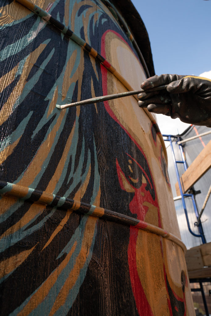Shepard Fairey, <em>Power & Equality</em> (2019) on the roof of 190 Bowery. Photo courtesy of Great Bowery.