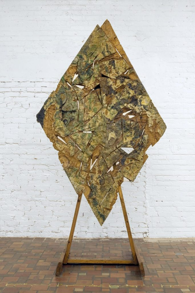 Gordon Newton, Diamond Follow (1975), canvas, paint, polymer resin, synthetic fabric on wood. Courtesy of Cranbrook Art Museum.
