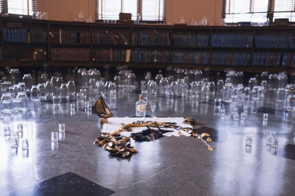 Bree Gant, Otherlogue 2019, Skillman Library. Glass jars, mussels, iron, resin, bees, cowries. Photo: Kashina Dowridge