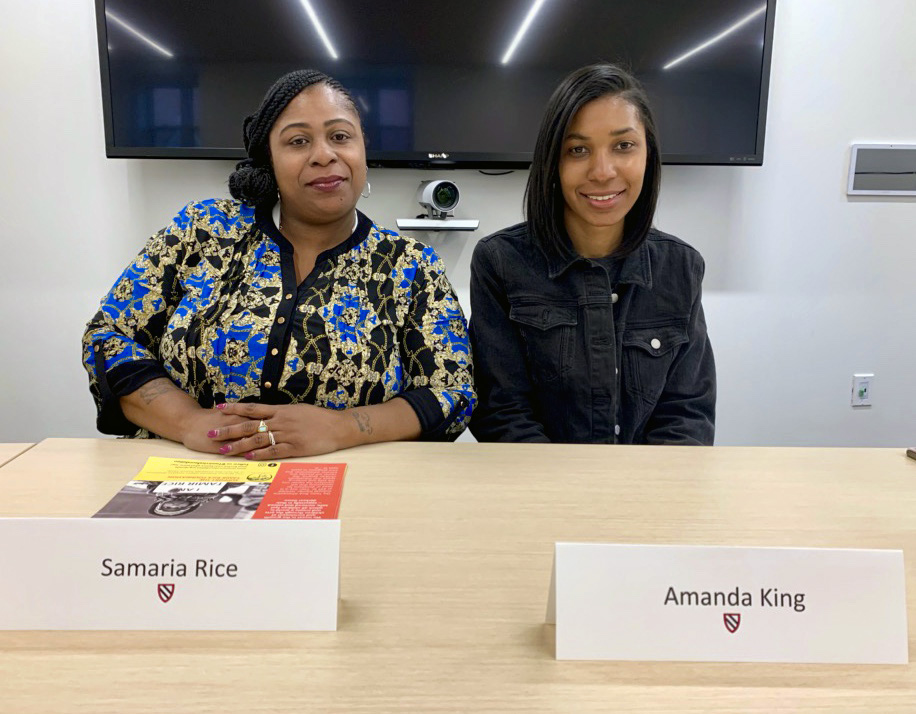 Samaria Rice and Amanda D. King at a talk at Radcliffe College, April 2019.