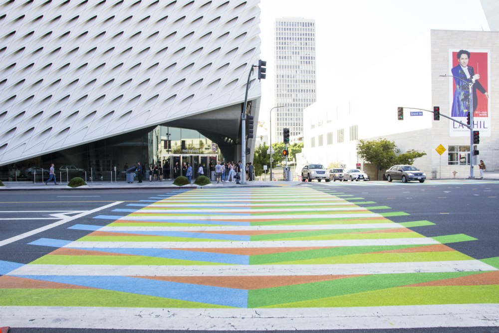 "Carlos Cruz-Diez, <em></em> (2017), a crosswalk commissioned by the Broad for ""Pacific Standard Time: LA/LA."" Photo courtesy of the Broad, Los Angeles."