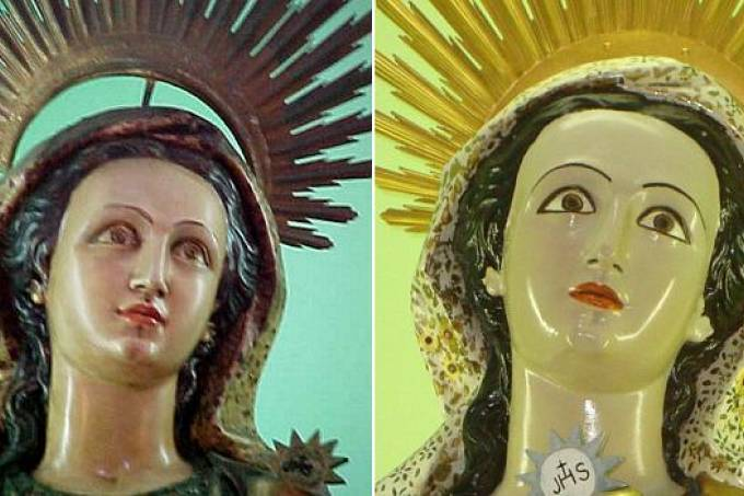 The statue of Santa Barbara at Brazil's Santa Cruz da Barra Chapel, before and after restoration. Photo by Milton Teixeira.