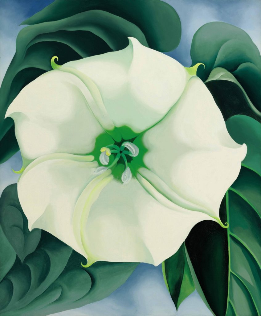Georgia O'Keeffe, <i>Jimson Weed/White Flower No. 1</i> (1932). The painting sold at Sotheby's New York on November 20, 2014, for $44.4 million, the most ever paid for a work by a woman artist. Courtesy of the Crystal Bridges Museum of American Art, Bentonville, Arkansas.