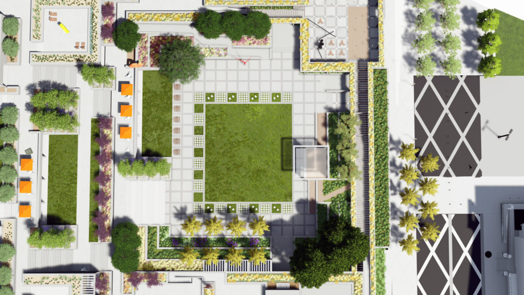 Rendering of the renovated gardens at the Oakland Museum of California. Image courtesy of the Hood Design Studio.