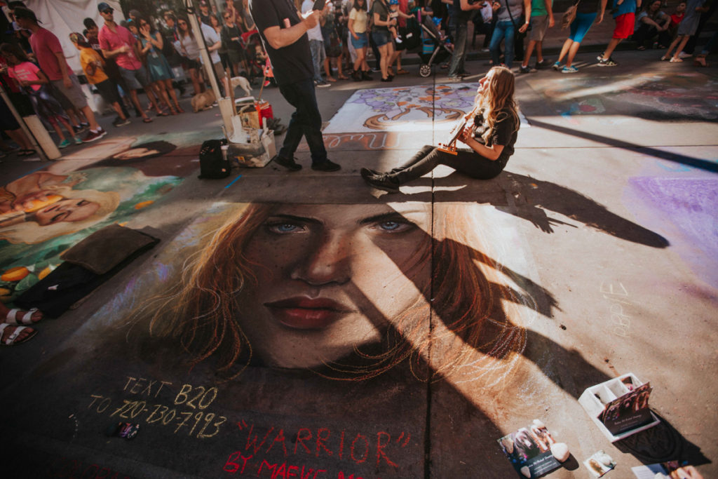 Maeva McCarthy won best in show at the 2019 Denver Chalk Art Festival for her piece <em>Warrior</em>. Photo courtesy Denver Chalk Art Festival