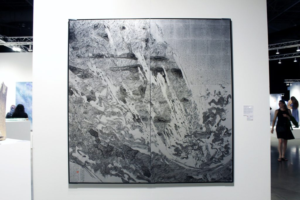 Installation view of Takafumi Asakura's Japanese Ink Painting at Yufuku Gallery's booth. Image: Rain Embuscado.
