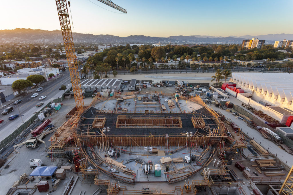 Aerial view of the Academy Museum of Motion Pictures under construction. ©A.M.P.A.S.