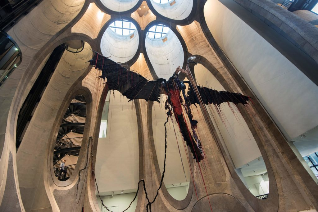 A sculpture by South African artist Nicholas Hlobo dominates the main hall in The Zeitz Museum of Contemporary African Art in Cape Town on September 15, 2017.