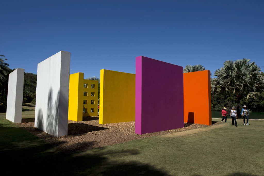 A work by Brazilian artist Helio Oiticica is displayed at the Inhotim Centre for Contemporary Art in Brumadinho, some 60 km from Belo Horizonte, southeastern Brazil, on August 11, 2015. Considered the world largest center for contemporary open air art with over 20 galleries housing the work of 85 artists of 26 different nationalities, the Inhotim Institute also has one of the greatest botanical collections in the country. AFP PHOTO / Nelson ALMEIDA (Photo credit should read NELSON ALMEIDA/AFP/Getty Images)