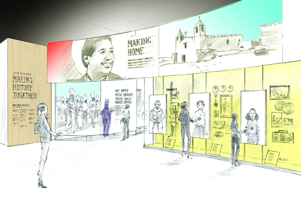 A sketch of the planned Molina Family Latino Gallery at the Smithsonian's National Museum of American History, set to open in 2021. Image courtesy of Museum Environments/Branded Environments.