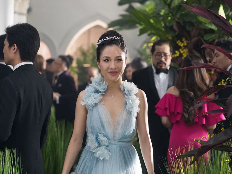 Constance Wu's character, Rachel Chu, wore a Marchesa gown to a wedding in <em>Crazy Rich Asians</em>. It is now part of the collection of the Smithsonian's National Museum of American History. Photo courtesy Sanja Bucko/Warner Bros. Entertainment Inc. and RatPac-Dune Entertainment LLC.