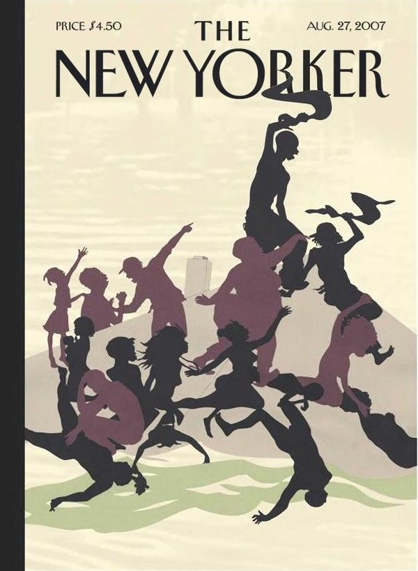 Kara Walker, <em>Post Katrina, Adrift</em> (2007), a <em>New Yorker</em> cover honoring the second anniversary of Hurricane Katrina. Courtesy of the <em>New Yorker<em>.