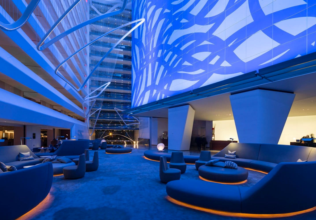 "Conrad New York Downtown's lobby featuring Sol LeWitt's ""Loopy Doopy (Blue and Purple), 1999. Photo courtesy Conrad Hotels."