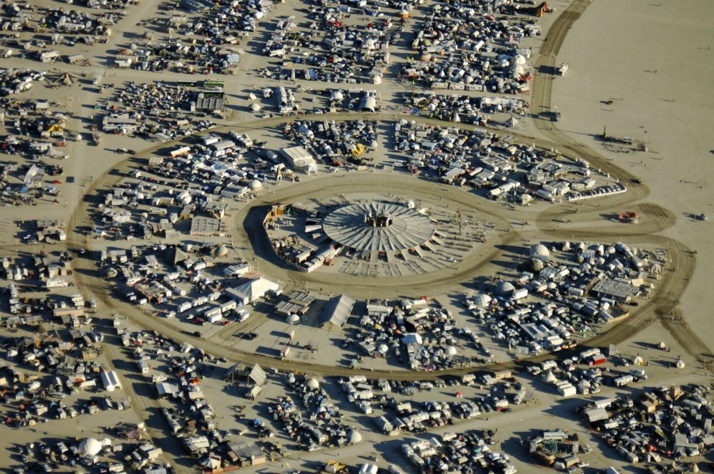 Will Roger, photo from <em>Compass of the Ephemeral: Aerial Photography of Black Rock City through the Lens of Will Roger</em>. Photo courtesy of Smallworks Press.