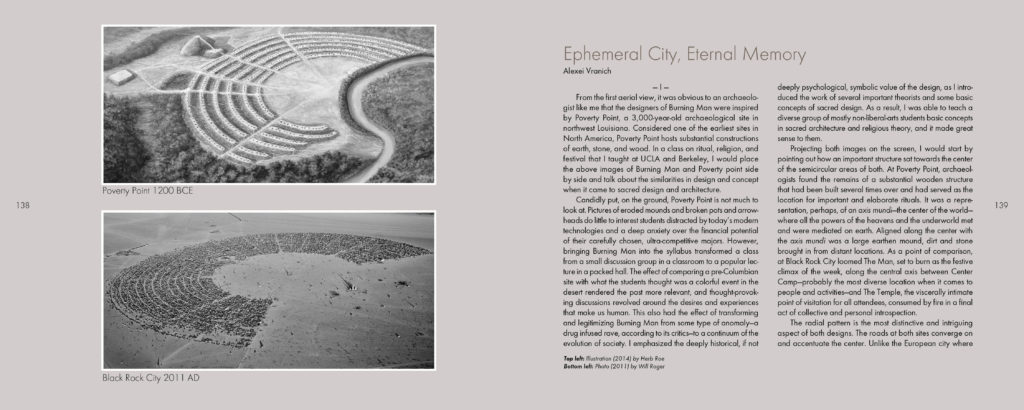 A spread from <em>Compass of the Ephemeral: Aerial Photography of Black Rock City through the Lens of Will Roger</em>. Photo courtesy of Smallworks Press.