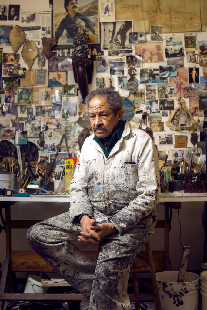 Jack Whitten in his studio, 2016. Photo by Taylor Dafoe.