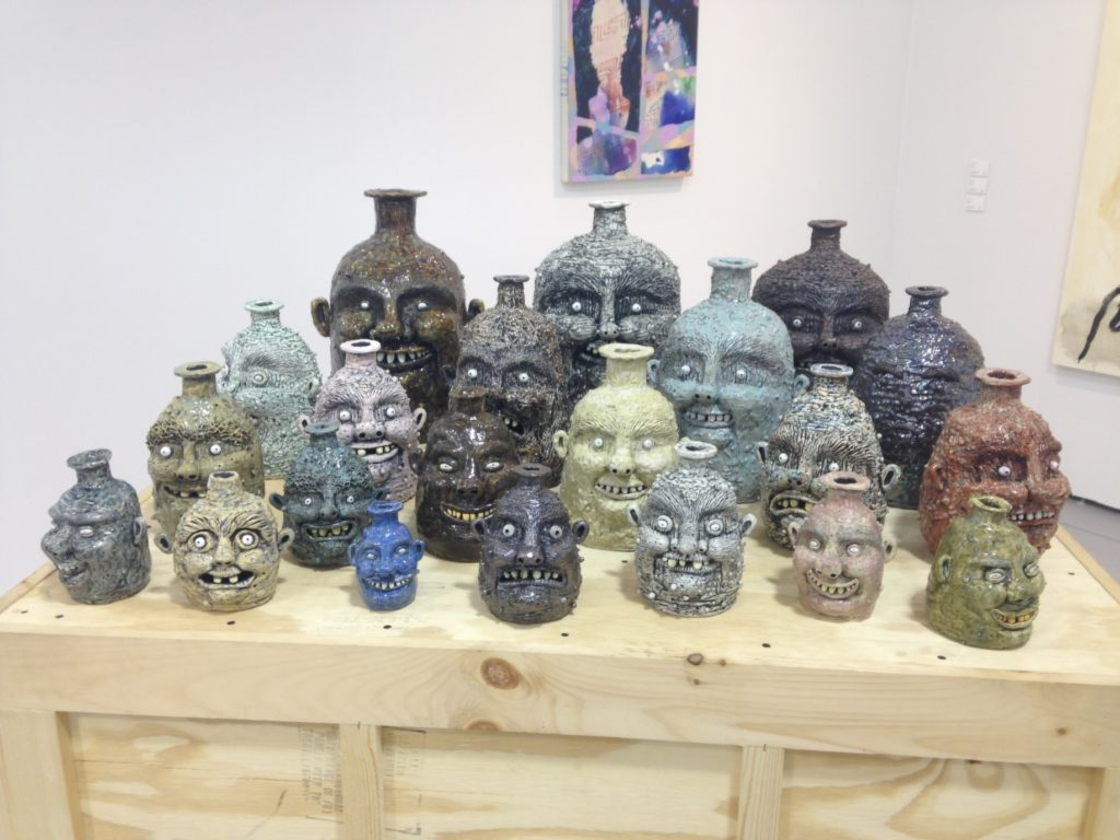 Rebecca Morgan, Assortment of Face Jugs, Asya Geisberg Gallery. Photo: Cait Munro