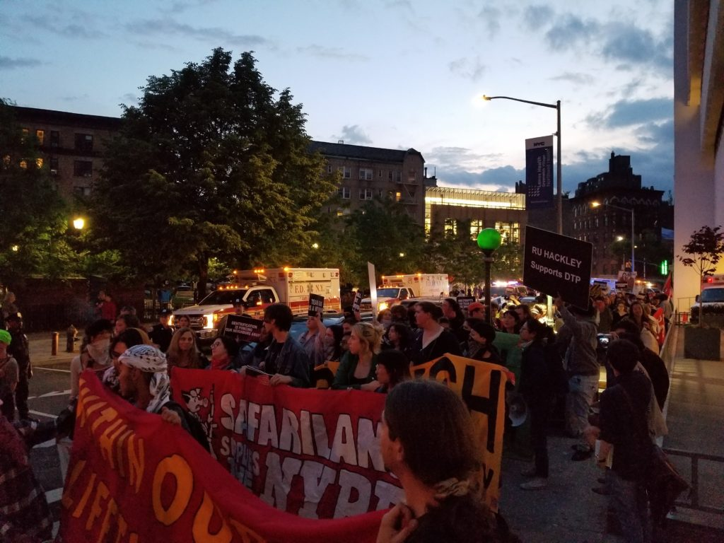 Protesters marching from the Whitney Museum to the home of Warren Kanders. Courtesy of Decolonize This Place.