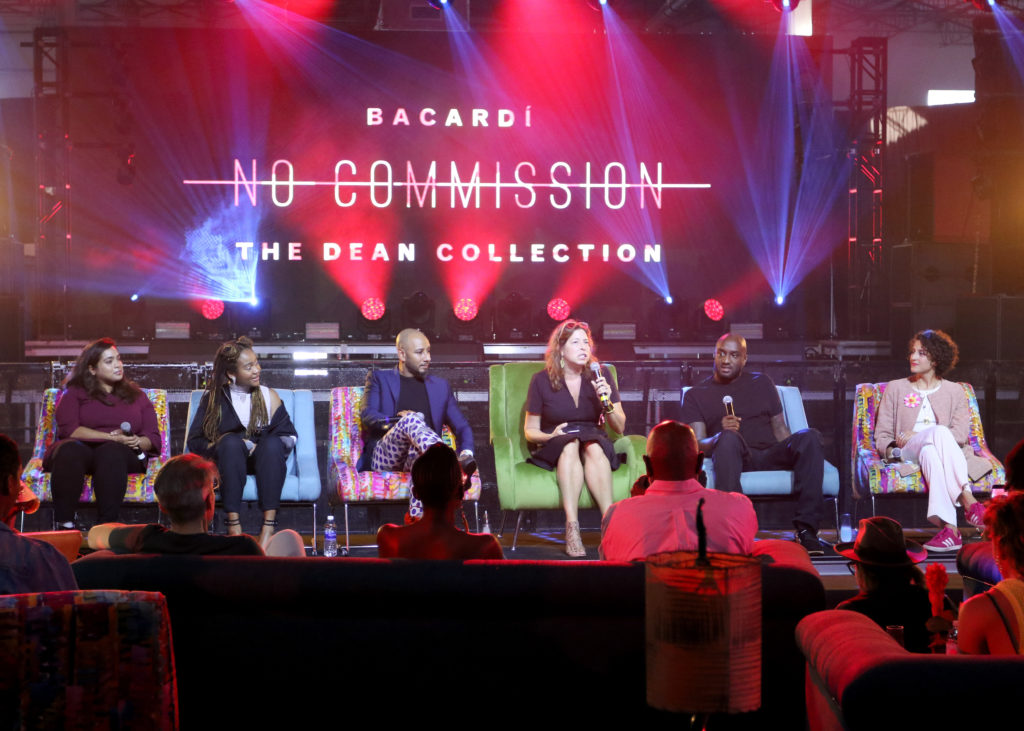 "MIAMI, FL - DECEMBER 07: Nora Khan, Kimberly Drew, Swizz Beatz, Anne Pasternak, Virgil Abloh, and Carmen Aguilar y Wedge speak onstage as part of the ""Future of Art"" panel discussion during the VIP Preview of BACARDI, Swizz Beatz And The Dean Collection Bring NO COMMISSION Back to Miami to Celebrate 'Island Might"" at Soho Studios on December 7, 2017 in Miami, Florida. Photo by John Parra/Getty Images for BACARDI."
