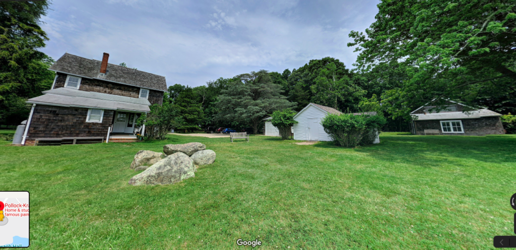 Lee Krasner and Jackson Pollock's house, and Pollock's studio barn (far right) as seen on Google Street view.