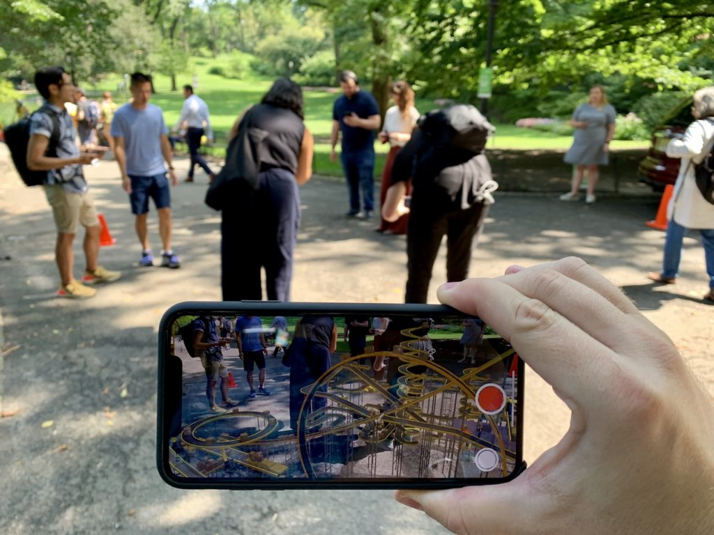 Looking at Cao Fei's installation for [AR]T initiative in Central Park. Image: Ben Davis.