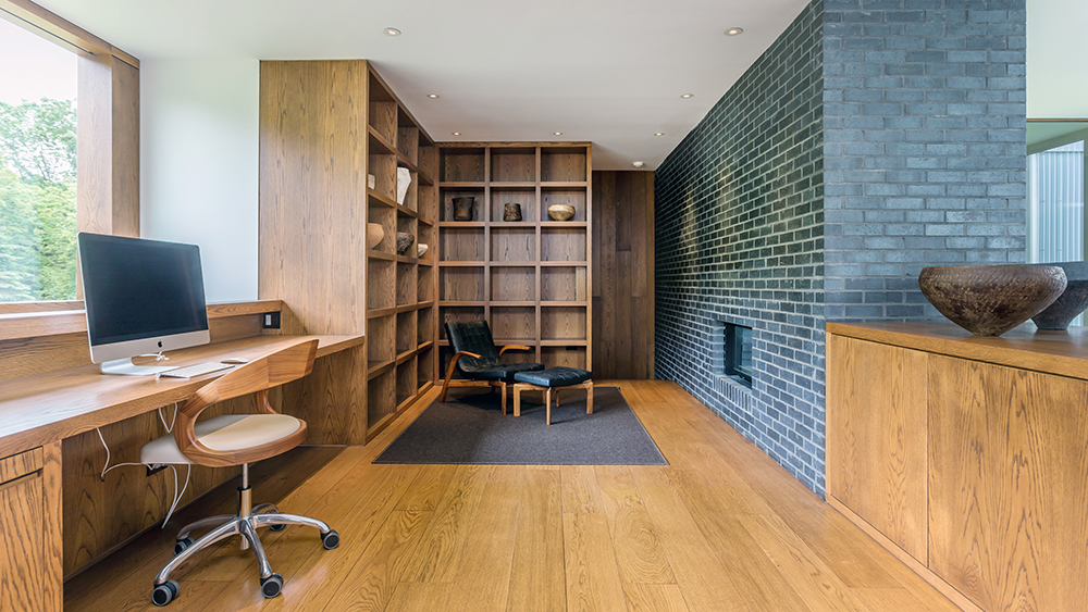 The office at the Tsai Residence, designed by Ai Weiwei and HHF Architects. Photo by Michael Bowman Photography.
