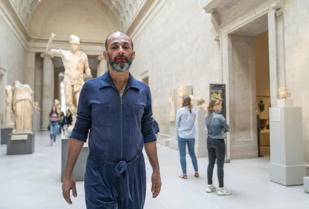 For nine days, Indian art Nikhil Chopra will perform a range of various personae as he interacts with objects in The Met collection. Courtesy of The Metropolitan Museum. Photgraph by Stephanie Berger.