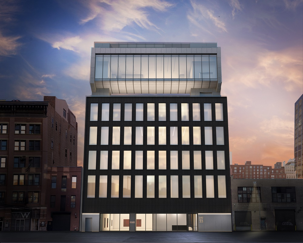 Architectural rendering of Pace Gallery's new headquarters at 540 West 25th Street, New York. Image courtesy of Bonetti / Kozerski Architecture.