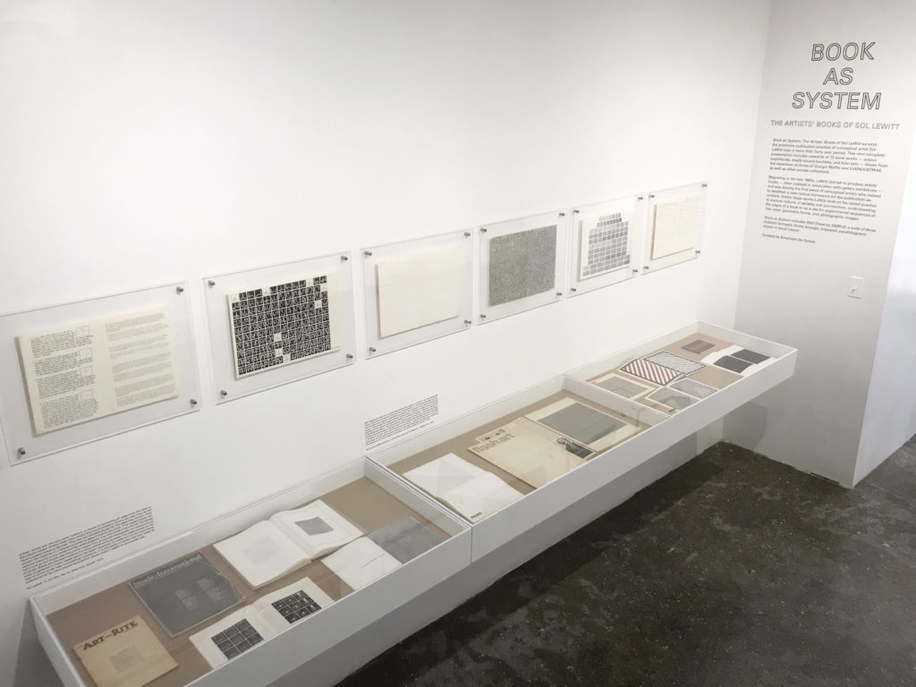 "Installation view of ""Book as System: The Artists' Books of Sol LeWitt"" at Printed Matter, 2019. Courtesy of Printed Matter."