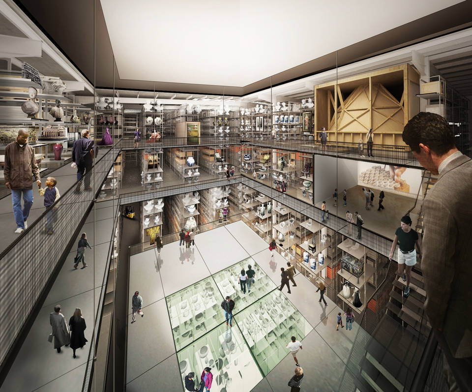 View of collection hall in the planned V&A East Collection and Research Center. Copyright the Diller Scofidio + Renfro. 2018.