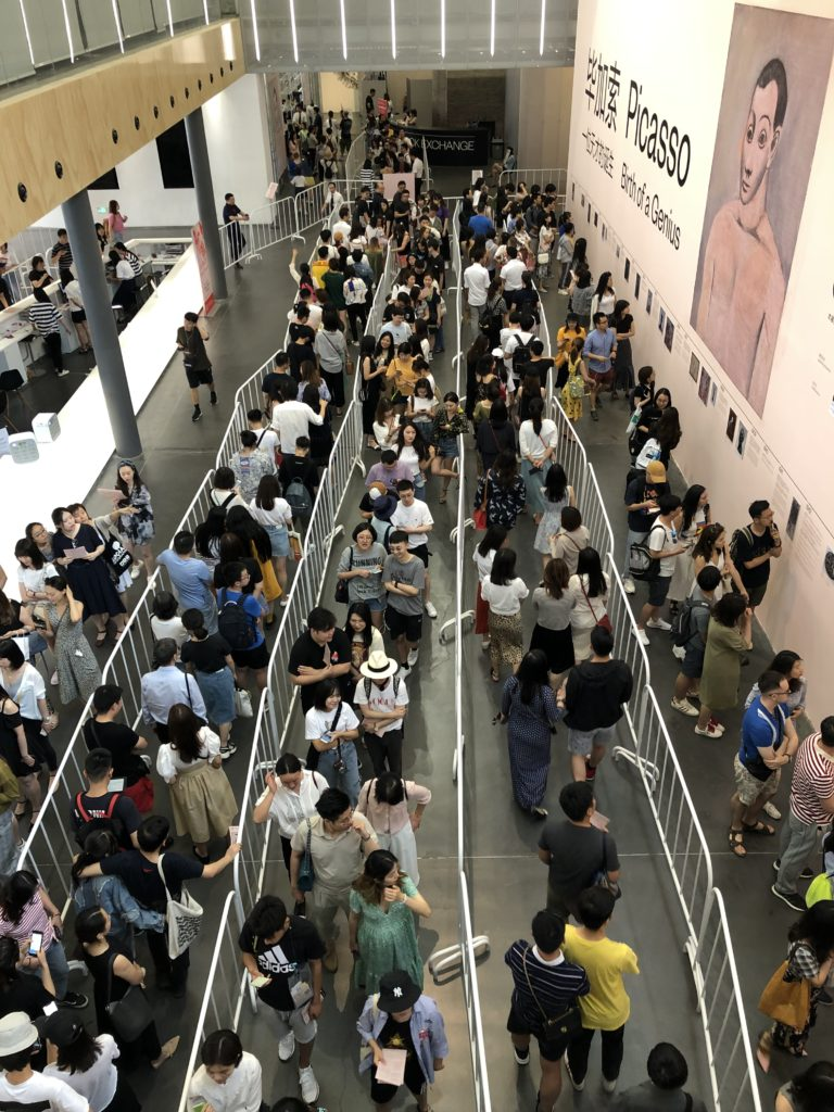 Crowds waiting in line for the UCCA's Picasso survey. Courtesy UCCA.