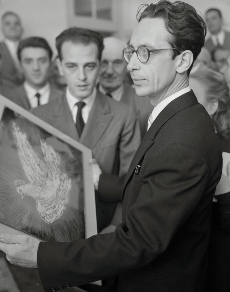 A panel with one of Picasso's doves of peace as seen during a presentation of the Stalin Peace Prize in Rome's Partisans of Peace Headquarters. (Courtesy of Getty Image/Bettmann/Contributor)