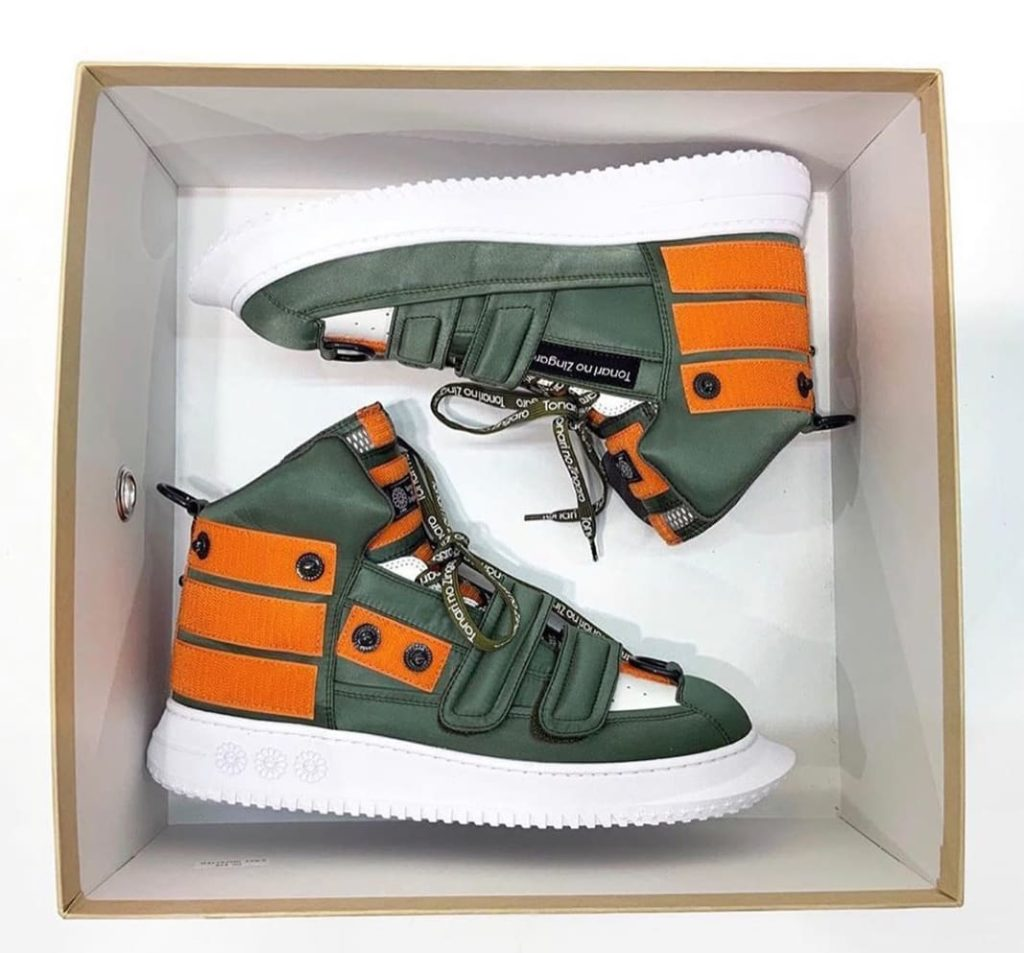 Takashi Murakami's new sneakers, theTZ BS-06s. The shoes are inspired by the Zaku from the anime <em>Mobile Suit Gundam</em>. Photo courtesy of Takashi Murakami.