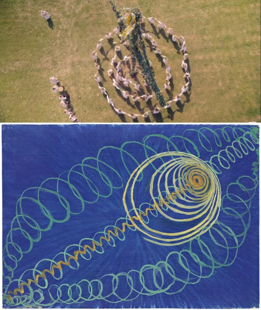 Top, an aerial shot from Midsommar; Hilma af Klint's Group 1, Primordial Chaos No.16(1906/7). Courtesy of the Guggenheim.
