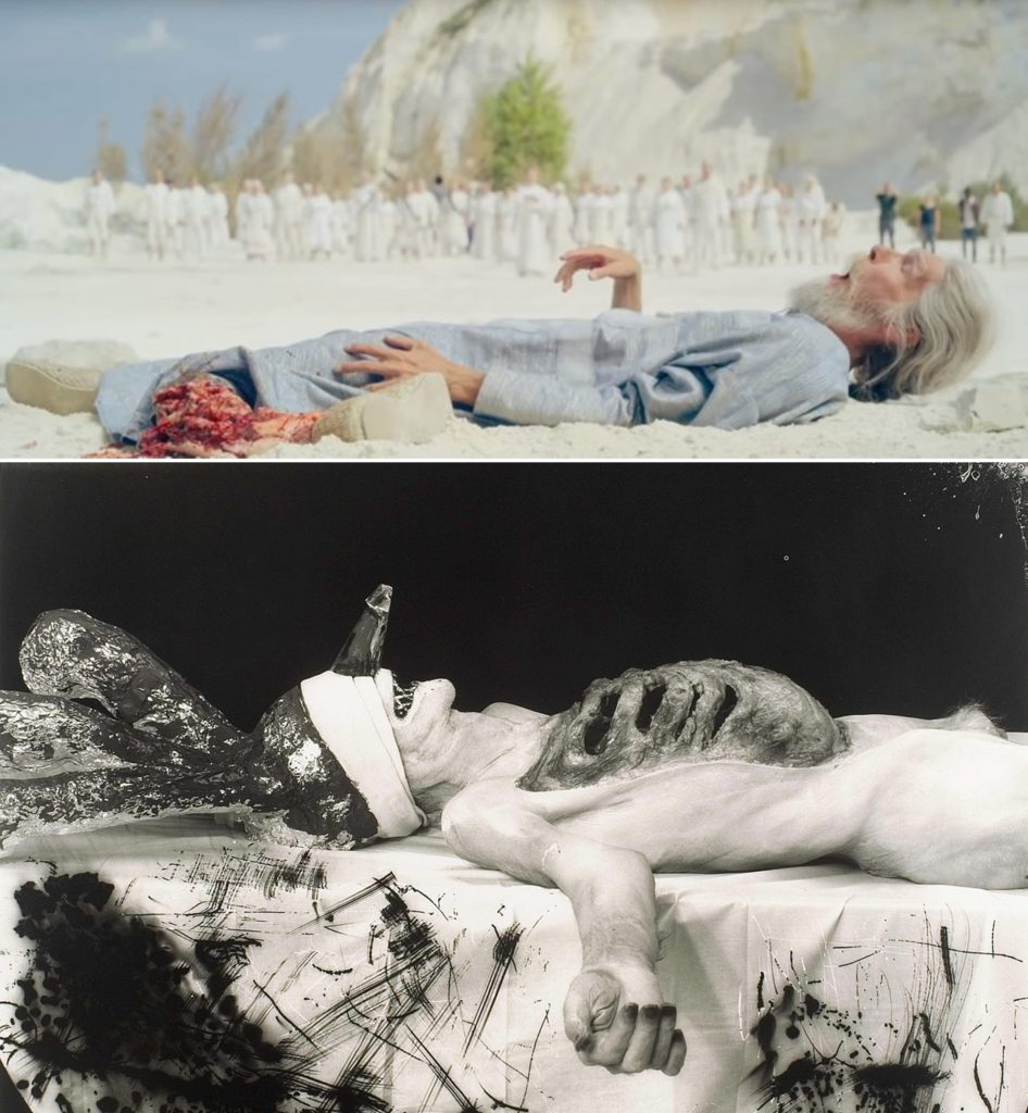 Top, still from Midsommar courtesy of A24 (2019) and Joel-Peter Witkin's Myself as a Dead Clown (2007). ©Joel-Peter Witkin.