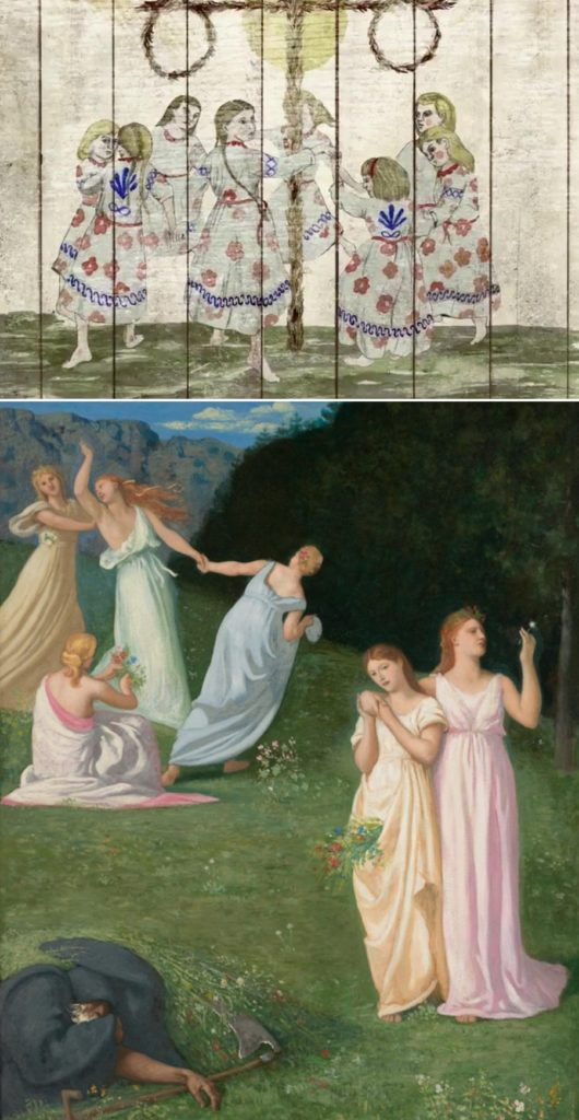 Still from Midsommar; Pierre Puvis de Chavannes, Death and the Maidens (1872). Courtesy of The Clark Art Museum.