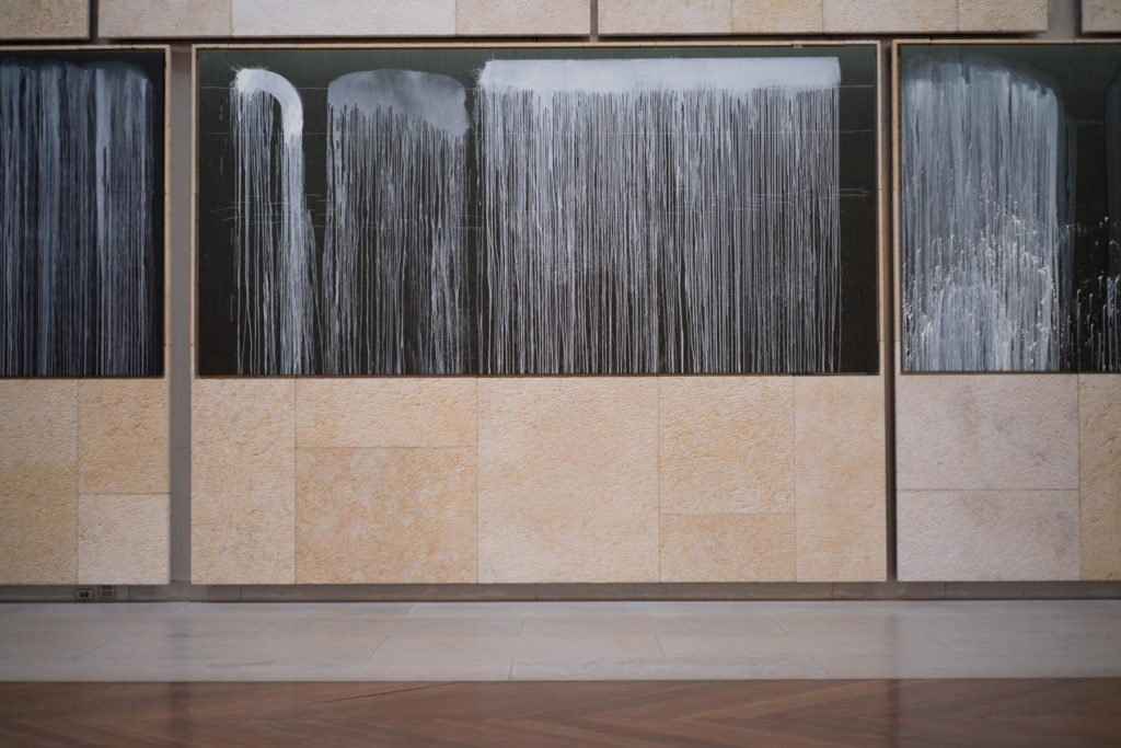 """A site-specific Pat Steir installation, """"Pat Steir Silent Waterfalls: The Barnes Series,"""" (2019) at the Barnes Foundation in Philadelphia, installation view. Photo by J. Ramsdale, courtesy of the Barnes Foundation."""