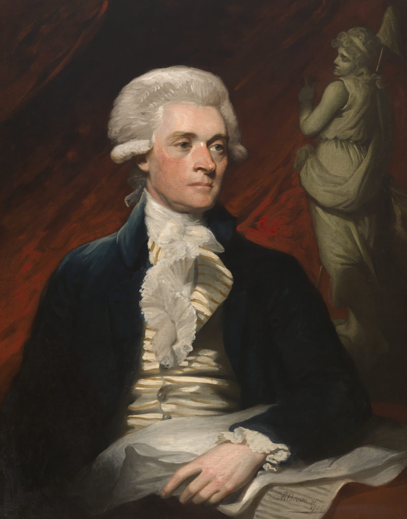 Mather Brown, <i> Thomas Jefferson</i> (1786). Courtesy of National Portrait Gallery, Smithsonian Institution.